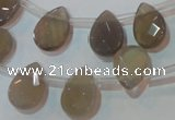 CAG6546 Top-drilled 10*14mm briolette Brazilian grey agate beads