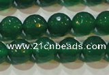 CAG6614 15.5 inches 10mm faceted round green agate gemstone beads