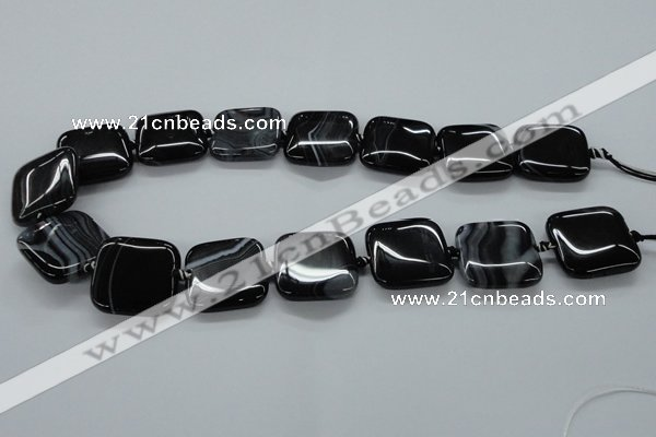 CAG6680 15.5 inches 25*25mm square black line agate beads