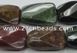 CAG6814 15.5 inches 16*22mm faceted & twisted rectangle Indian agate beads