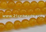 CAG7110 15.5 inches 8mm round yellow agate gemstone beads