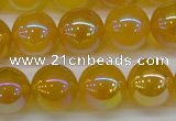CAG7125 15.5 inches 14mm round AB-color yellow agate gemstone beads