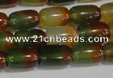 CAG7176 15.5 inches 10*14mm drum rainbow agate gemstone beads
