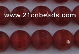 CAG7459 15.5 inches 12mm faceted round matte red agate beads