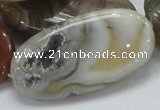 CAG784 15.5 inches 25*50mm oval yellow agate gemstone beads