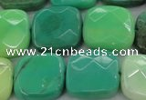 CAG7916 15.5 inches 20*20mm faceted square grass agate beads