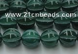 CAG8006 15.5 inches 10mm carved round green agate beads
