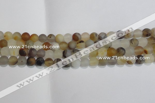 CAG8012 15.5 inches 8mm round matte Montana agate gemstone beads