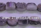 CAG8152 7.5 inches 10*14mm oval silver plated druzy agate beads