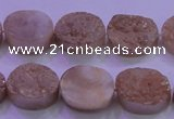 CAG8161 7.5 inches 12*16mm oval champagne plated druzy agate beads