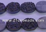 CAG8174 7.5 inches 13*18mm oval rainbow plated druzy agate beads