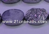 CAG8192 7.5 inches 18*25mm oval silver plated druzy agate beads