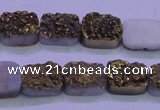 CAG8213 Top drilled 10*14mm rectangle glod plated druzy agate beads