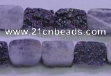 CAG8224 Top drilled 12*16mm rectangle rainbow plated druzy agate beads