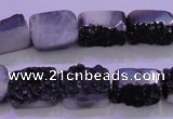 CAG8227 Top drilled 12*16mm rectangle black plated druzy agate beads