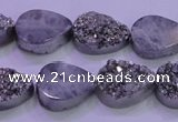 CAG8282 7.5 inches 12*16mm teardrop silver plated druzy agate beads
