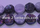 CAG8334 7.5 inches 10mm coin rainbow plated druzy agate beads