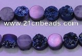 CAG8336 7.5 inches 10mm coin blue plated druzy agate beads