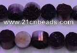 CAG8345 7.5 inches 12mm coin purple plated druzy agate beads