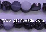 CAG8347 7.5 inches 12mm coin black plated druzy agate beads