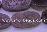 CAG8447 15.5 inches 15*30mm oval grey druzy agate gemstone beads