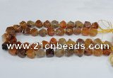 CAG8553 12*14mm - 14*15mm faceted nuggets dragon veins agate beads