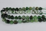 CAG8555 12*14mm - 14*15mm faceted nuggets dragon veins agate beads