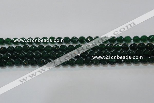 CAG8580 15.5 inches 10mm faceted round green agate gemstone beads