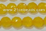 CAG8605 15.5 inches 14mm faceted round yellow agate gemstone beads