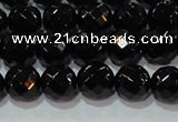 CAG8612 15.5 inches 10mm faceted round black agate gemstone beads