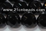 CAG8617 15.5 inches 20mm faceted round black agate gemstone beads