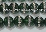 CAG8621 15.5 inches 10mm round green agate with rhinestone beads