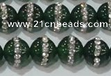 CAG8623 15.5 inches 14mm round green agate with rhinestone beads