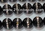 CAG8630 15.5 inches 8mm round black agate with rhinestone beads