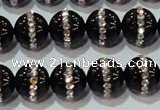 CAG8631 15.5 inches 10mm round black agate with rhinestone beads