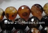 CAG865 15.5 inches 14mm faceted round agate gemstone beads