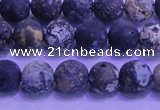 CAG8651 15.5 inches 6mm round matte blue ocean agate beads