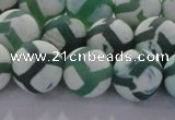 CAG8723 15.5 inches 12mm round matte tibetan agate gemstone beads