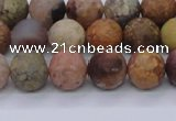 CAG8747 15.5 inches 8mm round matte rainbow agate beads