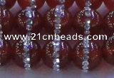 CAG8803 15.5 inches 12mm round agate with rhinestone beads