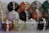 CAG8823 15.5 inches 12mm round agate with rhinestone beads