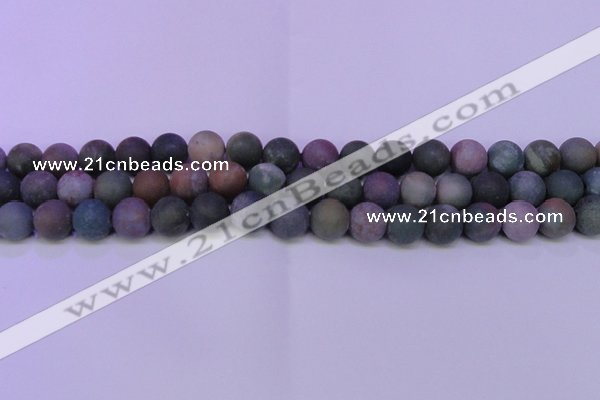 CAG8863 15.5 inches 10mm round matte india agate beads