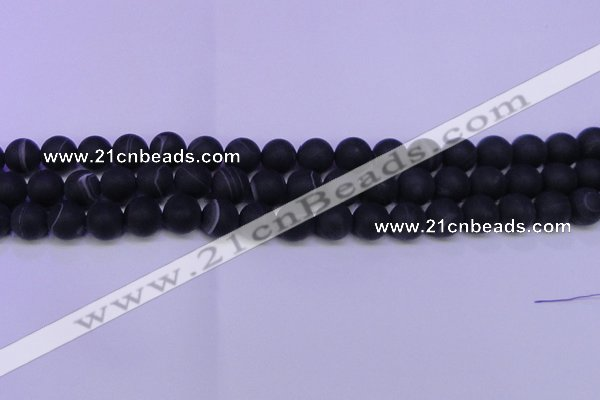 CAG8873 15.5 inches 10mm round matte black line agate beads