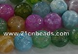 CAG8957 15.5 inches 10mm faceted round fire crackle agate beads