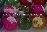 CAG8959 15.5 inches 14mm faceted round fire crackle agate beads