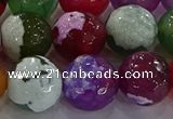CAG8960 15.5 inches 16mm faceted round fire crackle agate beads