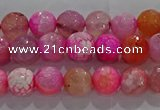 CAG8962 15.5 inches 4mm faceted round fire crackle agate beads