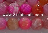 CAG8965 15.5 inches 10mm faceted round fire crackle agate beads