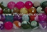 CAG8987 15.5 inches 6mm faceted round fire crackle agate beads