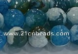 CAG9003 15.5 inches 12mm faceted round fire crackle agate beads